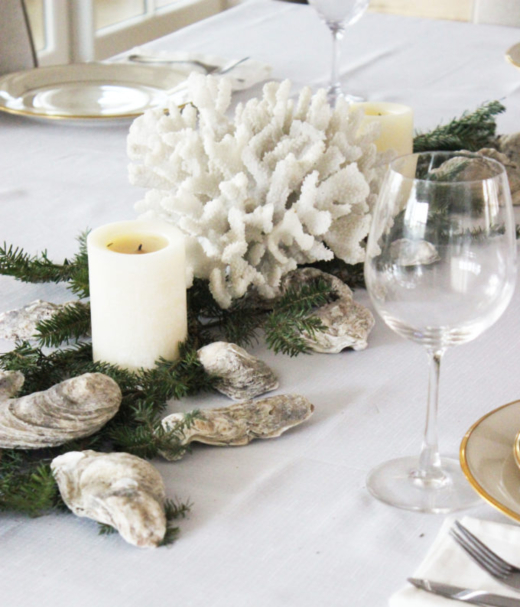 Coastal Christmas Table Centerpiece Idea with White Coral and Oyster Shells