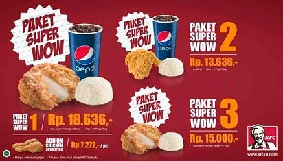 2015, Daftar Harga, Harga Menu, Harga Menu Paket KFC Super Wow, Menu Paket KFC Super Wow,