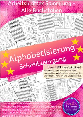Dieses Komplettsett beinhaltet mehr als 190 Arbeitsblätter für die Alphabetisierung in Grundschrift. Für Kinder mit Deutsch als Fremdsprache oder Deutsch als Zweitsprache können die Übungsblätter unabhängig vom Lehrwerk eingesetzt werden. Zum Aufbau des Grundwortschatzes beinhaltet jeder Buchstabe zusätzlich eine Vokabelseite zum Lernen der Wörter