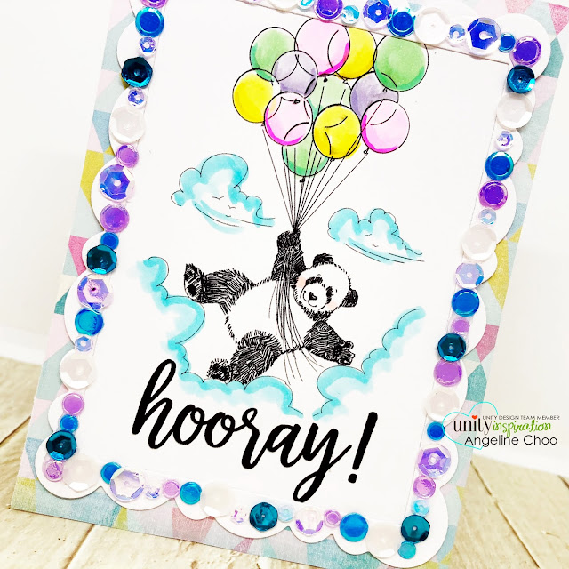 ScrappyScrappy: Phyllis Harris-Unity Stamp release - It's your Day Panda #scrappyscrappy #unitystampco #phyllisharris #card #cardmaking #stamp #stamping #youtube #quicktipvideo #uniitystampsequins #sequins #panda #birthdaycard #birthday #averyelle #sequinsborder