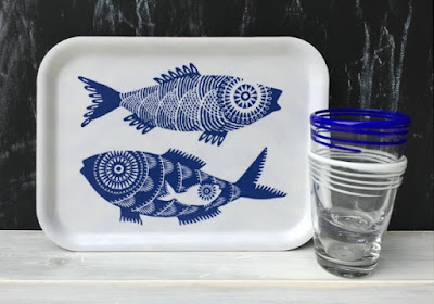 white tray with two big blue fish