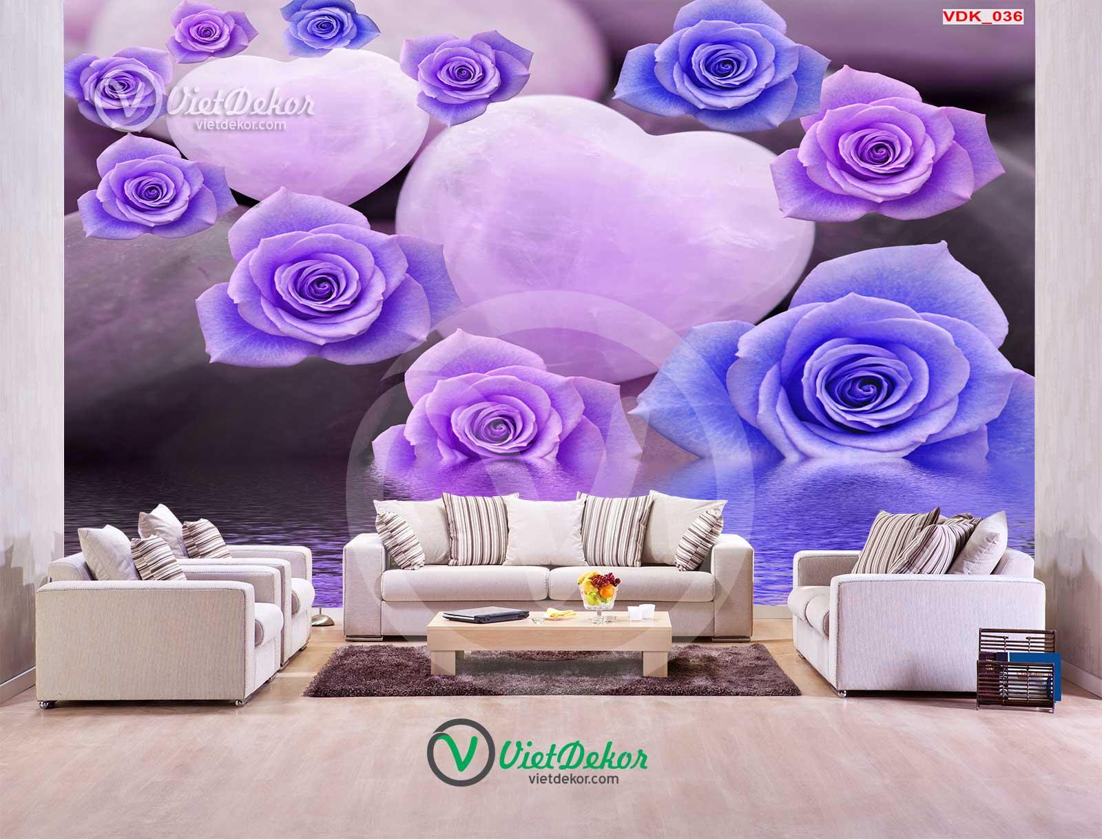 Tranh dán tường hoa hồng 3d cho phòng ngủ