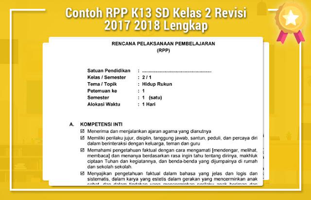 Contoh RPP K13 SD Kelas 2 Revisi 2017 2018