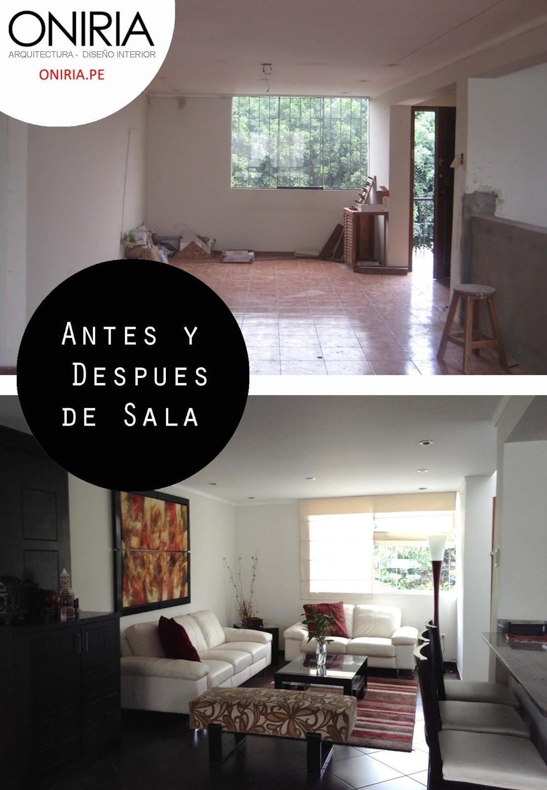 Oniria antes y despu s remodelaci n de sala for Remodelacion de casas pequenas fotos