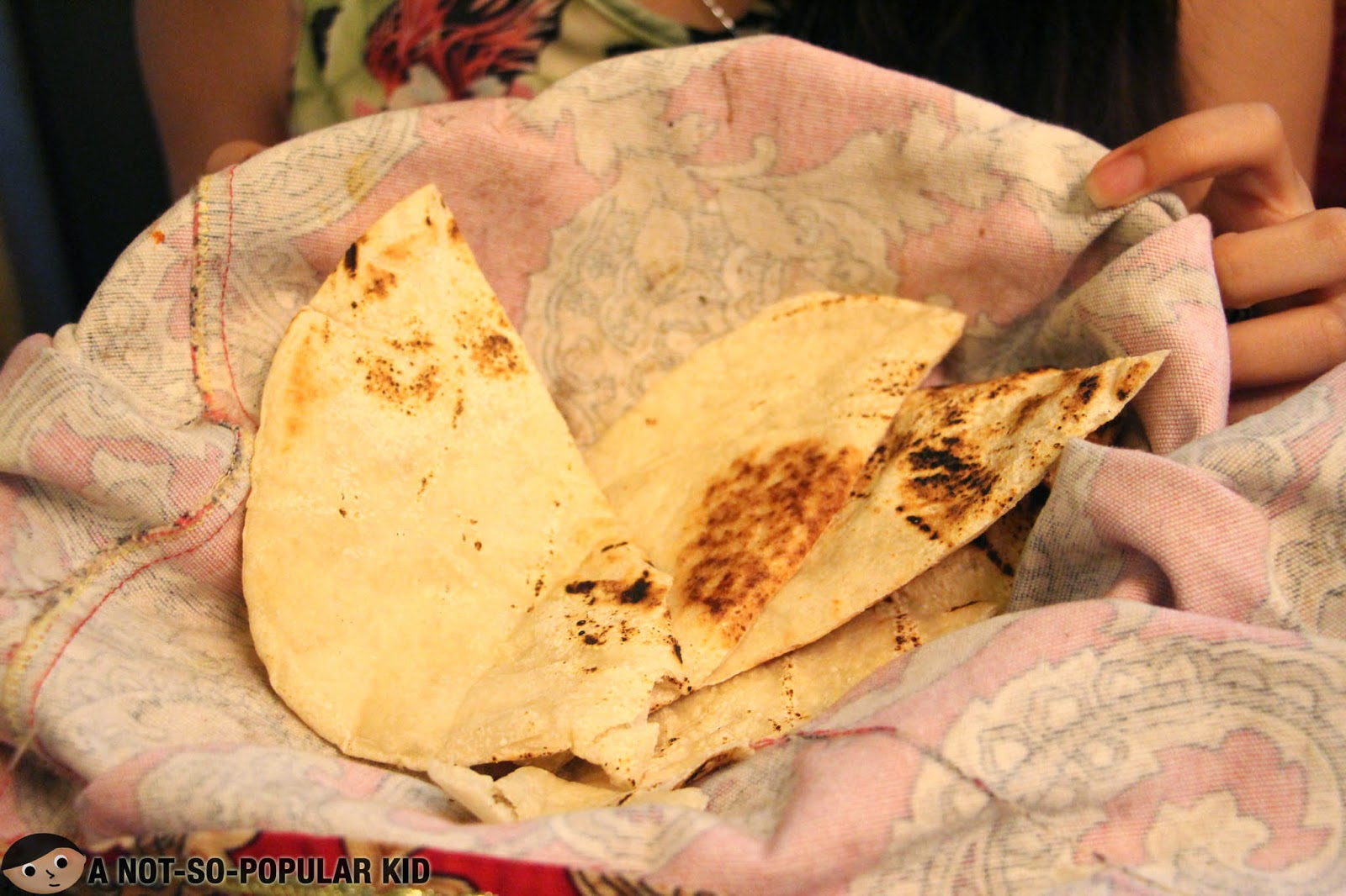 The pita bread that comes along with the Arya Dip Platter