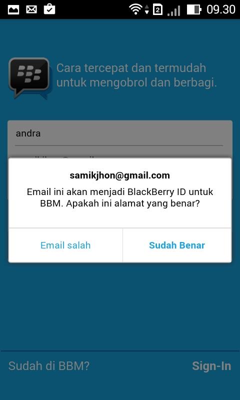 Pastikan Kembali Bahwa Memang Benar Alamat Email Yang Telah Anda Pakai Untuk Mendaftar Bbm Sudah Benar Dan Jika Menemukan Sudah Mendapati Tampilan Seperti