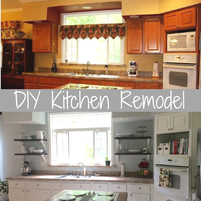 diy farmhouse kitchen remodel with open shelves and painted cabinets. Interior Design Ideas. Home Design Ideas