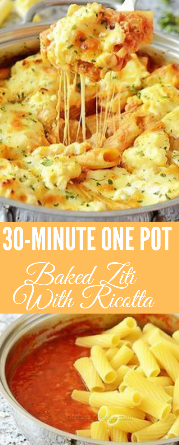 ONE POT BAKED ZITI WITH RICOTTA #baked #recipe