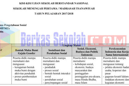 Kisi-Kisi USBN IPS SMP/MTs Tahun 2018 Kurikulum 2013 dan 2006