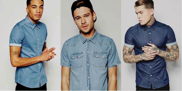 camisa jeans masculina como usar manga curta