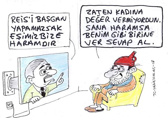 reis başkan eş haram karikatür