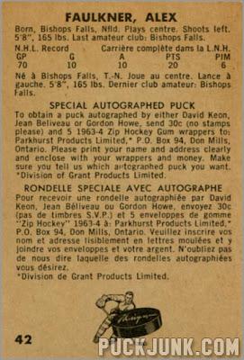 1963-64 Parkhurst #42 – Alex Faulkner