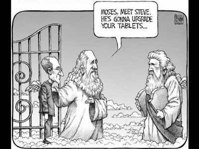 Funny Moses Steve Jobs Cartoon picture - Moses meet Steve.  He's gonna upgrade your tablets
