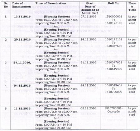 image : HSSC Clerk Exam Schedule 2016 @ Haryana Education News