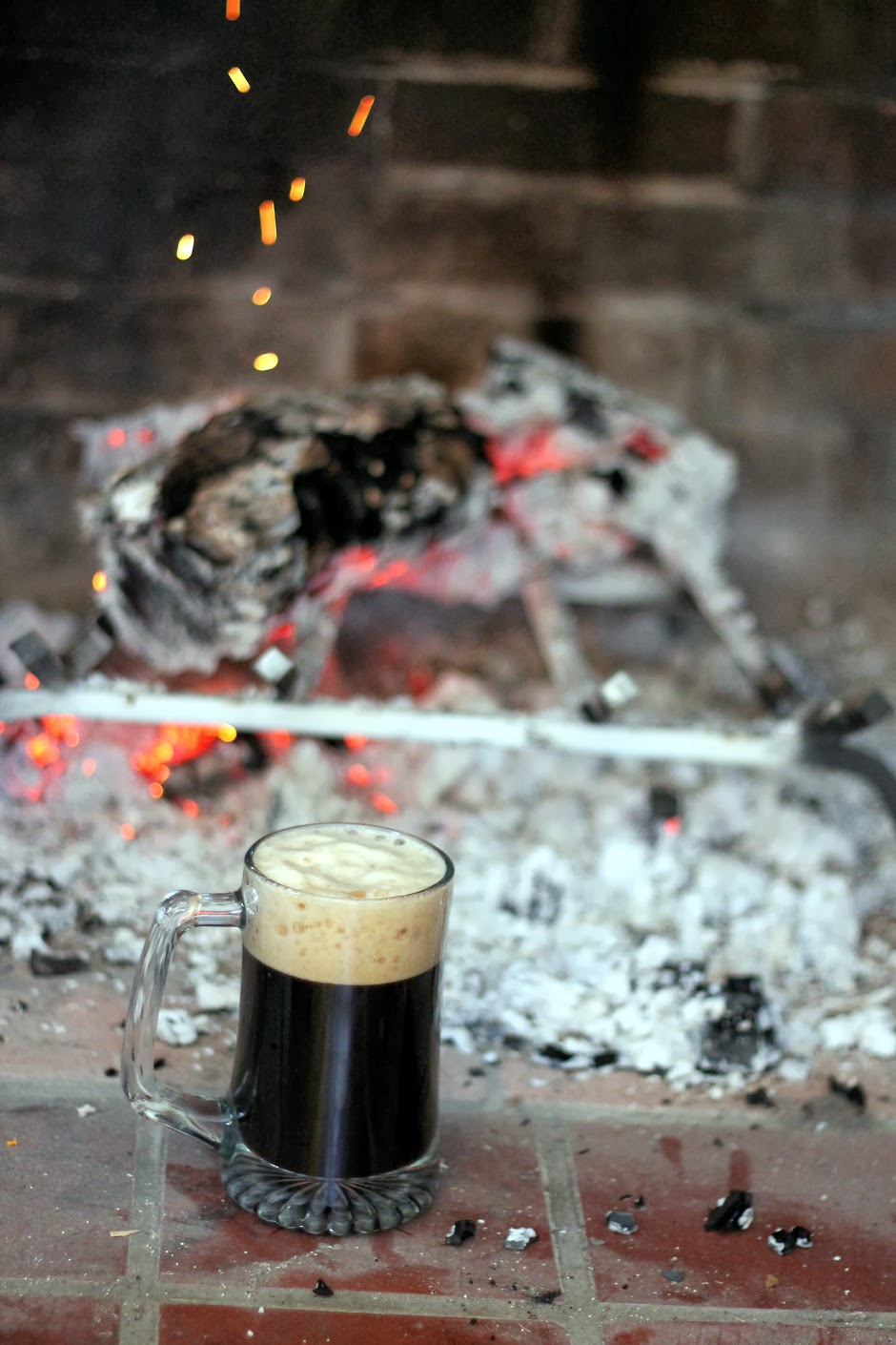 Scottish Stout, next to a dying fire.