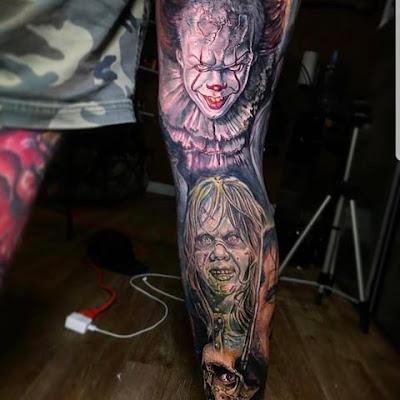 Tatuajes de terror en la pierna (IT, la niña de El Exorcista y más)