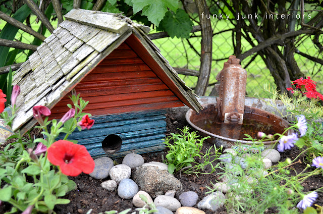 Cow feeder birdbath via Funky Junk Interiors