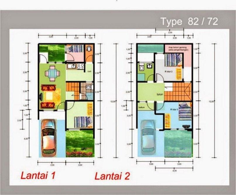 denah rumah 8x12 dua lantai menarik