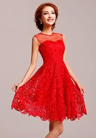Dress Pesta Brokat Pendek Modern Warna Merah