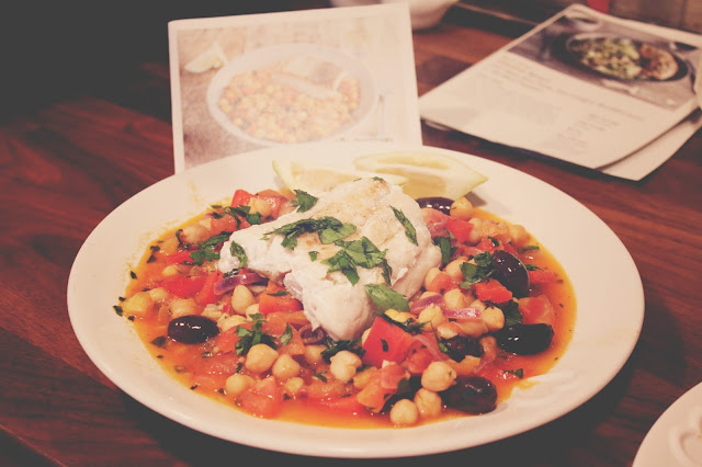 Riverford organic meal north African fish stew with harissa, olives & chickpeas