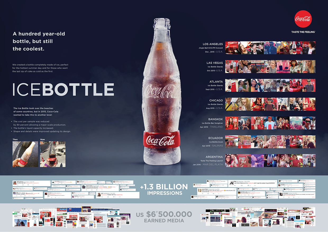 cocacola ice bottle on packaging of the world creative