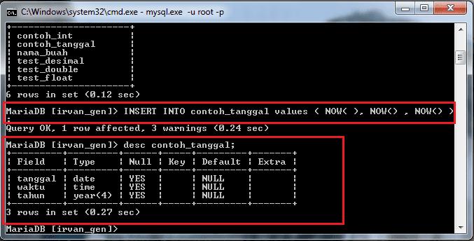 Menampilkan kolom contoh_tanggal di mysql