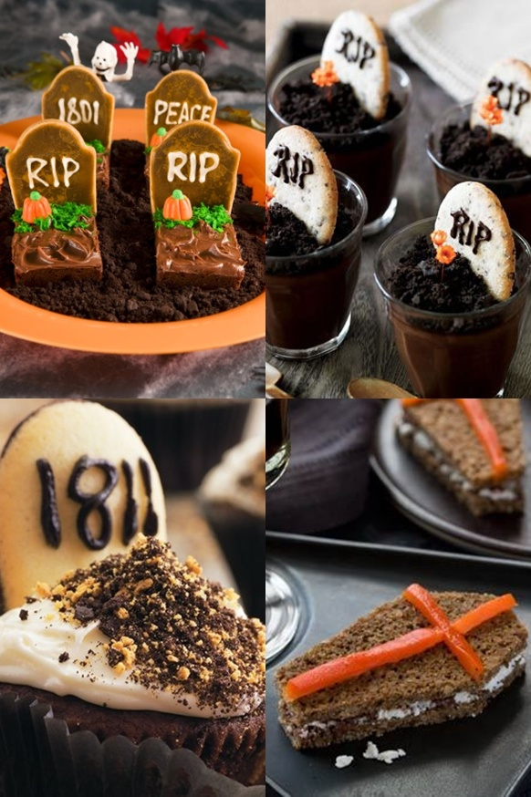 18 creepy Halloween food ideas for dessert table. Creative Halloween bat cupcake, RIP cupcakes, and spooky foods for party. Simple Halloween Food Ideas. Halloween Cakes Ideas and recipes. Halloween dessert ideas and recipes. Creepy Halloween treats ideas for kids.