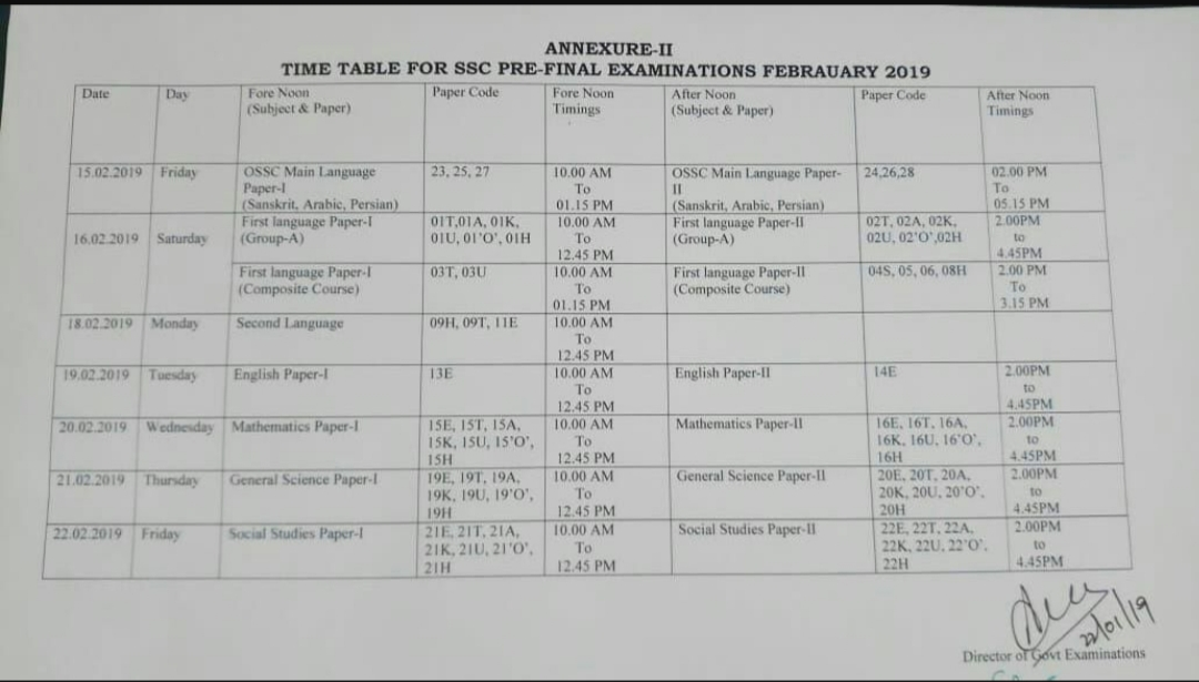 SSC 2019 PreFinal Exams Time Table ~ MANNAMweb.com