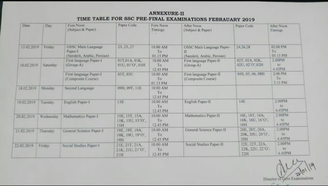 SSC 2019 PreFinal Exams Time Table ~ MANNAMweb.com
