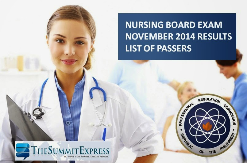 List of Passers: Nursing Board Exam NLE Results November 2014