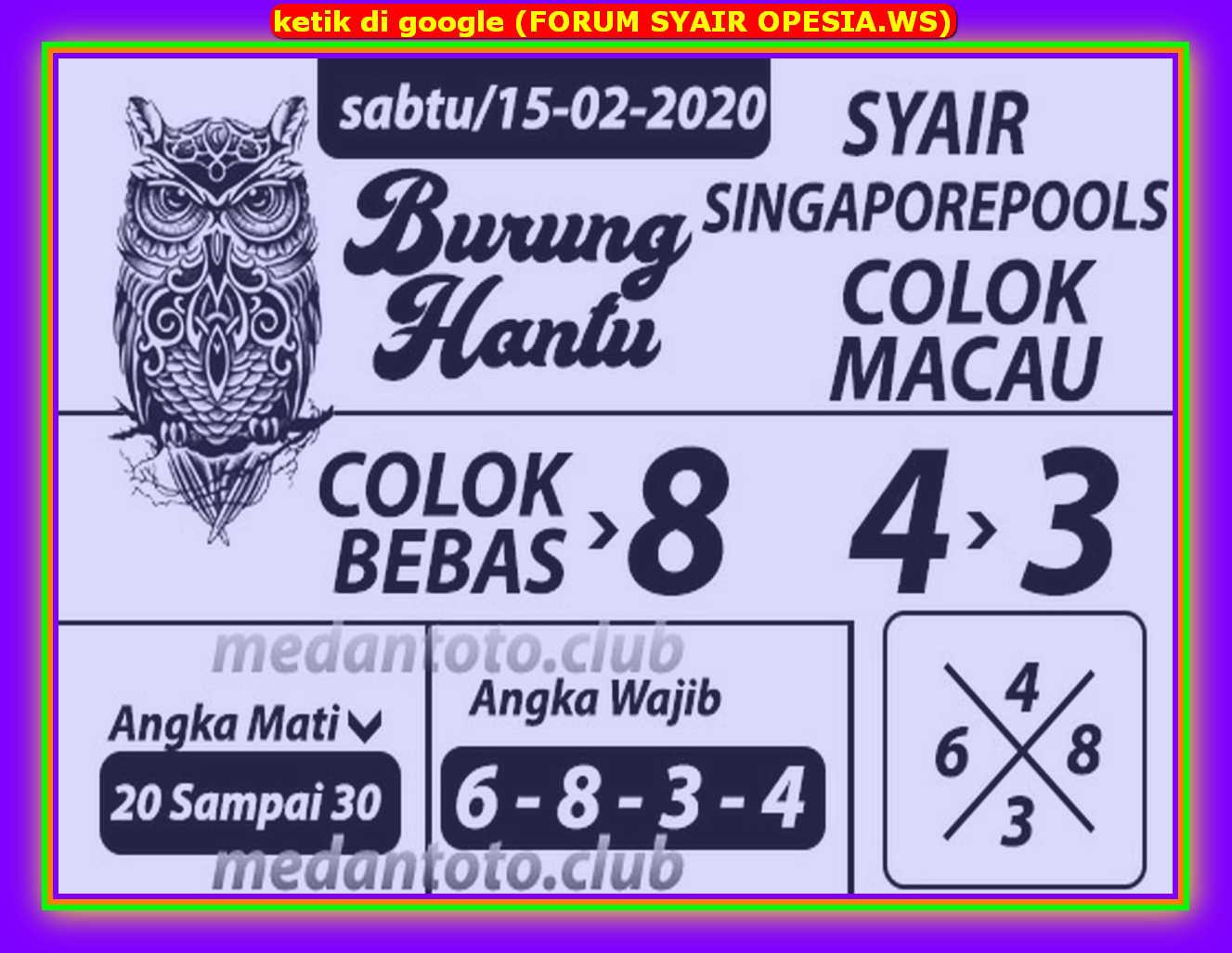 Kode syair Singapore Sabtu 15 Februari 2020 70