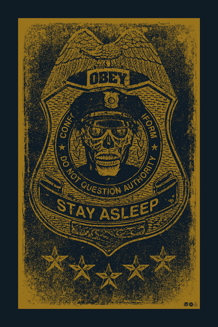 "They Live ""Do Not Question Authority"" Gold Variant Screen Print by Chris Garofalo x Mad Duck Posters"