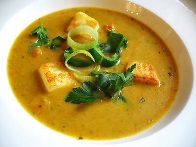 Spicy Carrot Soup with Ginger and Paneer Cubes
