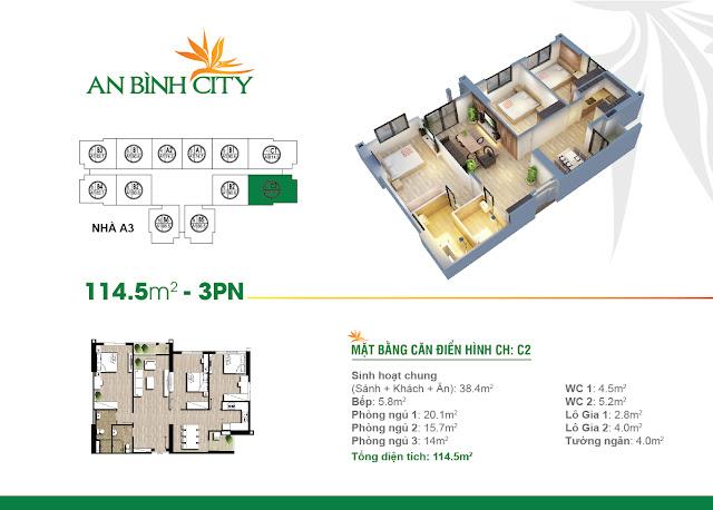 Mặt bằng thiết kế căn hộ 3 ngủ 114m2 An Bình City