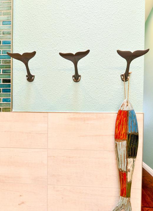 Whale Tail Hooks Bathroom