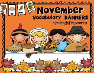 November Vocabulary BANNERS from TpT 1stgradefireworks