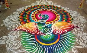 Attractive and Huge Peacock Rangolis