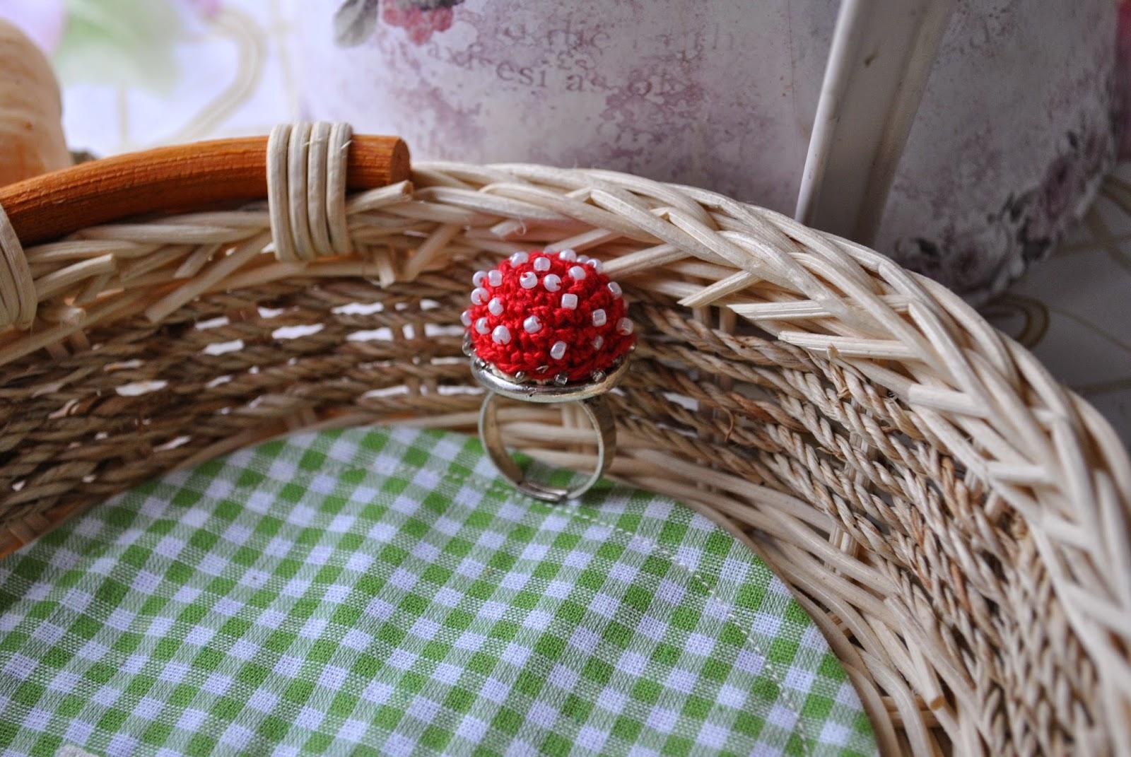 кольцо, гриб, мухомор, бисерное кольцо