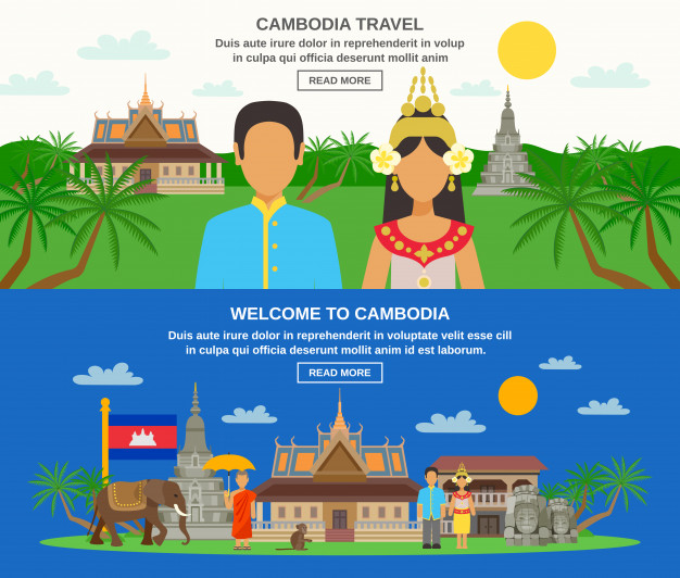 cambodia vector free download cambodian culture horizontal banners set free vector