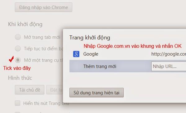 Cài đặt Google làm trang chủ trong Google Chrome