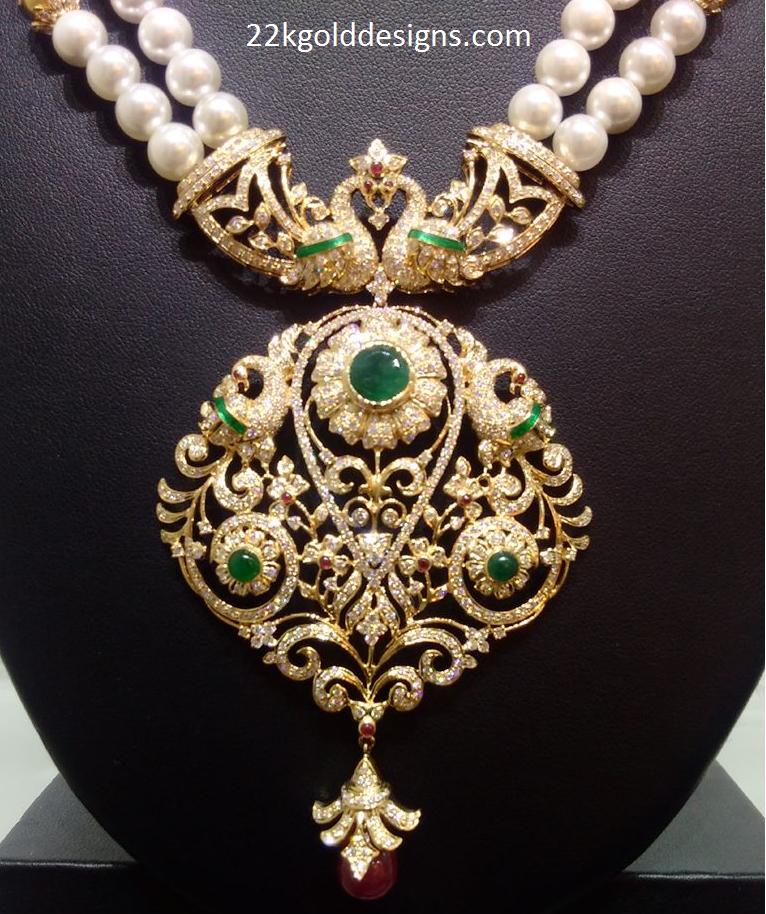 Peacock Diamond Pendant for Pearl Mala