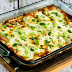 Karyn's Holiday Breakfast Casserole with Artichokes, Goat Cheese, and Canadian Bacon