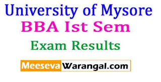 University of Mysore BBA Ist Sem 2016 Exam Results