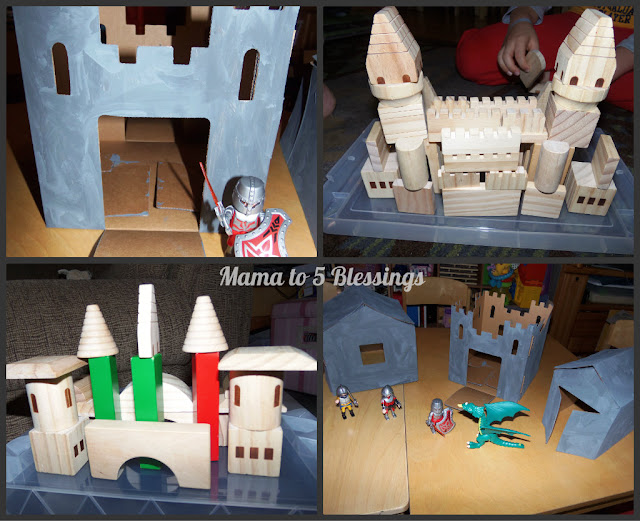 wooden blocks and castles