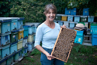 Marla Spivak holding frame of honeybees