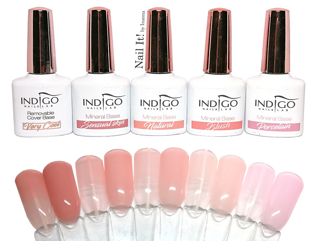 """Indigo Nails """"Mineral Base"""" and """"Cover Base"""" - all 5 colors SWATCHES and COMPARISON"""