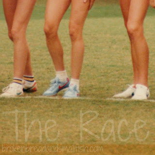 picture of runner's legs at the starting line (The Race brokenbreadandsmallfish.com)
