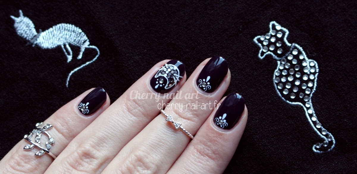 nail-art-chat-paillettes-facile