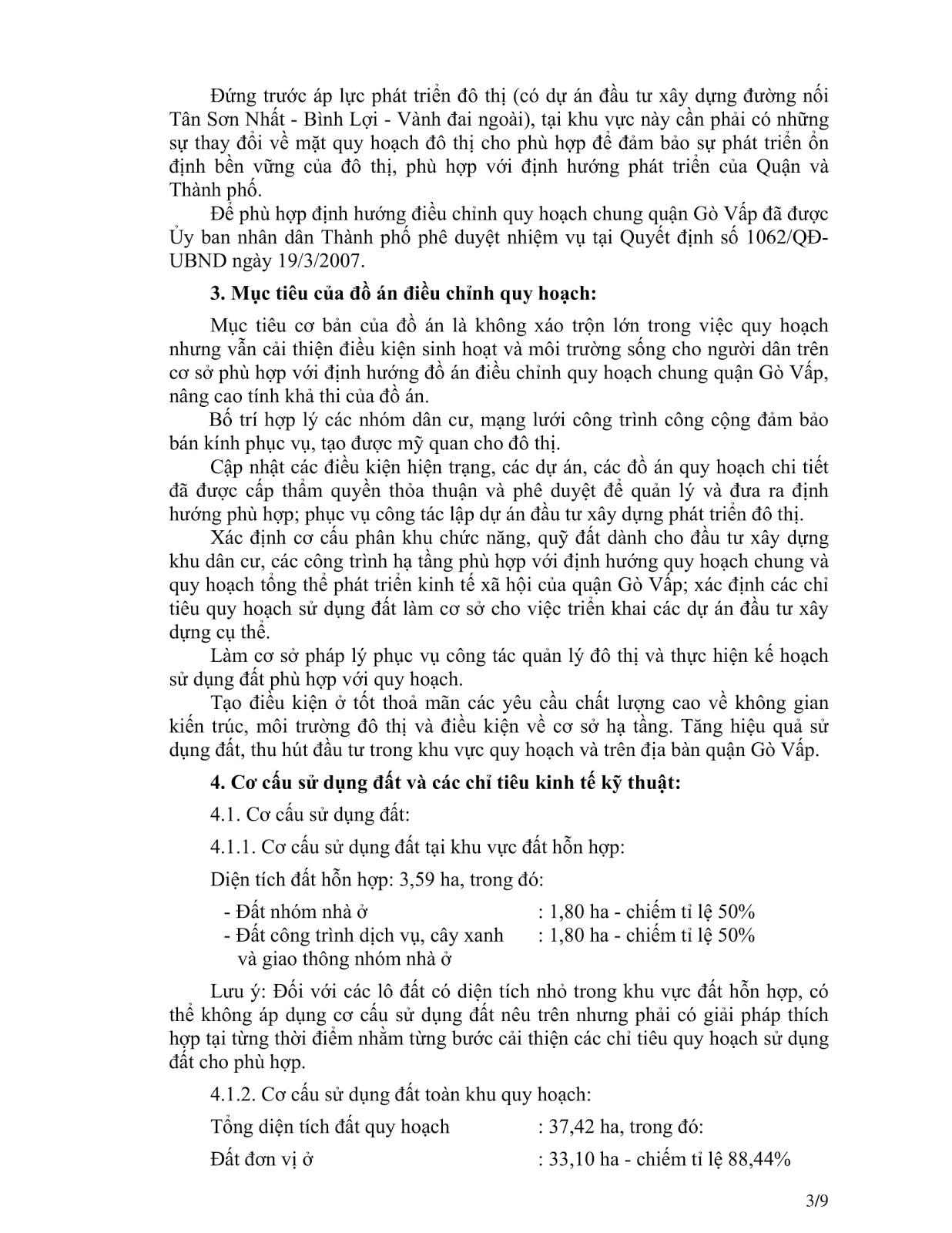 Quyết Định Số 2921/QĐ-UBND Quy Hoạch Khu Dân Cư Phường 4 Quận Gò Vấp Tờ 3