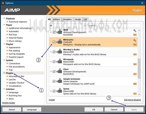 Cara Pasang Plugin MiniLyric pada AIMP Player